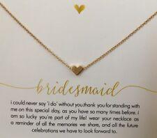 Demoiselle D'honneur Carte Message Cadeau De Mariage Bijoux Petit Coeur Collier Choker azuq