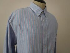 Land's End Men's Long Sleeve Cotton Blue Striped Shirt Size L/T 16 to 16 1/2