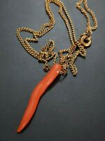 Natural Red Mediterranean Coral Pendant Cornetto Pepper Necklace Vintage
