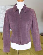 WORTHINGTON Womens PURPLE Suede Bomber Jacket Leather Zip Coat Fully Lined M