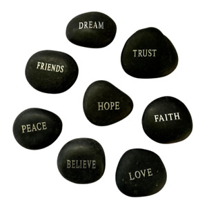 8 Lucky Stone Pebbles Collection with Inspirational Words, Love, Faith & Hope