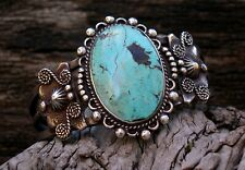Old Navajo Silver Natural Turquoise Bracelet Square & Twisted Wire
