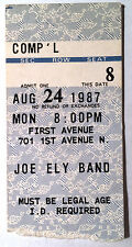 Joe Ely Band Ticket Stub First Avenue Minneapolis August 24th 1987