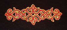 RED  Sequin embroidery patch lace applique motif dress irish dance costume