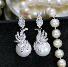 White Gold Plated 12mm Faux Pearl Drop Dangle CRYSTAL EARRINGS UK