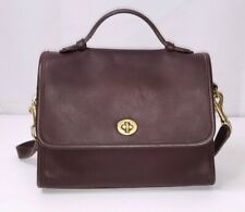 Vintage Coach Brown Leather Court Turnlock Flap Crossbody Shoulder Bag 9870 Exc+