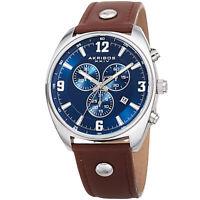 Men's Akribos XXIV AK969BRBU Chronograph Swiss Quartz Leather Strap Watch