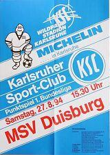 Karlsruher SC KSC MSV Duisburg 1. Bundesliga 27. August 1994 Plakat Wildpark