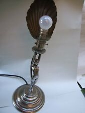 ANTIQUE ART DECO NICKEL PLATED  DIANA  NUDE LADY  LAMP WITH  SHADE RARE 1930'S