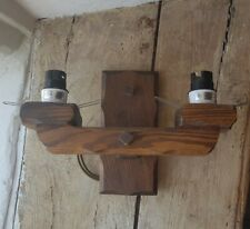 Vintage  Gothic Oak double electric wall sconce Wood Light farmhouse pub cottage
