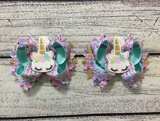 1 set Pig Tail or Shoes Topper Unicorn Boutique Hair Bows