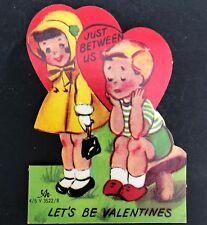 Vtg 40s 50s Just Between Us Valentines Card Ephemera Greeting Boy Girl Die Cut