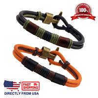 Rope and Leather Unisex Men Women Wristband Bracelet