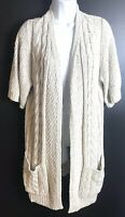 CHICO'S Cardigan Sweater Long Tan Natural Chunky Cable Knit Beige Sz L/XL