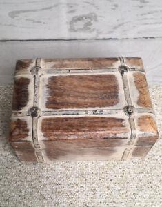 Rustic Wooden Shabby Chic Trinket Jewelry Box Primitive Metal Trim