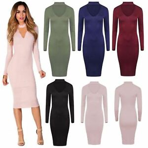 Womens Ladies Plain Choker V Neck Long Sleeve Bodycon Evening Party Midi Dress