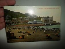 Vintage Postcard LLANDUDNO The Beach And Grand Hotel Franked+Stamped 1910  §A504