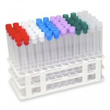60 Clear Plastic Test Tube Set with Caps and Rack, 16x150 mm, Karter Scientific