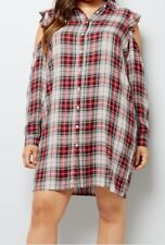 NEW COLD SHOULDER  LONG CHECKED SHIRT DRESS FROM NEW LOOK CURVES      SIZE 22