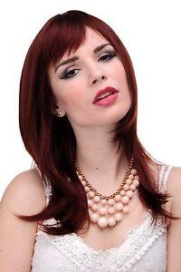 Wig Ladies Woman Braun Rust Brown Red Smooth Shoulder Length Fringe 50cm 3003-35