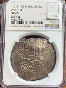 Bolivia 1613-17 Silver 8 Reales Choice XF 45 NGC A79