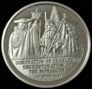 1975 SILVER GREAT BRITAIN RESTORATION OF THE MONARCHY KINGS ORB CHARLES II MEDAL