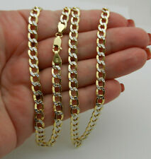 "Real 14k Two Tone Gold  Diamond Cut Curb Style Chain Necklace 22"" lg 9.4 gr"