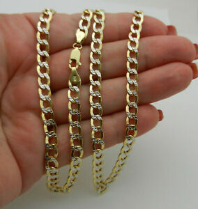 """Hollow 14k Two Tone Gold  Diamond Cut Curb Style Chain Necklace 22"""" lg 9.4 gr"""
