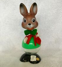 Vintage Western Germany Plastic Spring Nodder Easter Bunny Candy Container Rare!
