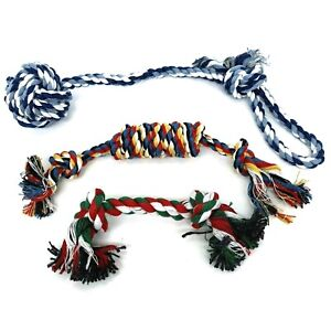 Dog Puppy Rope Chew Toy Bundle Multicolor Teething Puppy - 3 Rope Toys in Bundle