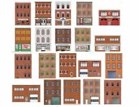 HO Scale Flat Front Buildings for Model Trains - 20 Total Front and Rear Sides