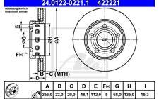 ATE Juego de 2 discos freno Trasero 256mm ventilado para VW 24.0122-0221.1