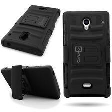 New Sharp AQUOS Crystal Black Hybrid Case + Belt Clip Holster Cover