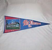 """Vintage """"MT VERNON VA. George Washington's Mansion"""" 29 3/8"""" Felt Pennant"""