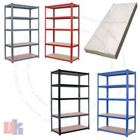 Heavy Duty Metal 5 Tier Boltless Shelving Racking in Blue Red Black Grey Colours