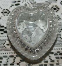 vtg Home Interiors 3 inch Glass Heart trinket Box W/ Lid Homeco Euc Perfect!