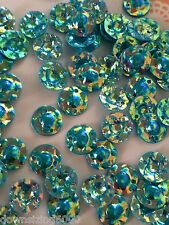Sequins 10mm Cabochon Opal Crystal Turquoise Blue Gold 3D Rare Cup or Dome