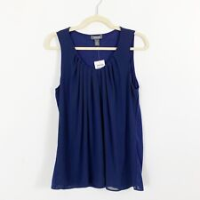 NEW Kenneth Cole Reaction Blue Sleeveless Blouse Top Size Large Scoop Neck Pleat