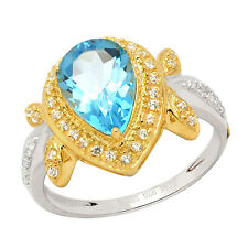 De Buman Two-tone Sterling Silver Swiss Blue Topaz & CZ Luxurious Ring, Size7