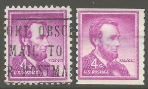 1954 U.S. #1036 4¢ Abraham Lincoln Liberty Series SLOGAN Cancel & COIL ULH