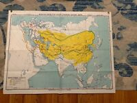 """Hanging Map 49""""X38"""" A.J. Nystrom Johnston-Nystrom Mongol-Turkey"""