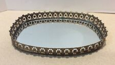 Studio Silversmith Oval Silver Mirror Vanity Tray Ornate