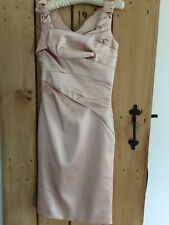KAREN MILLEN BLUSH  NUDE SATIN DRESS 10 WEDDING COCKTAIL OCCASION
