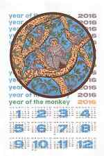 "2016 Year of the Monkey Calendar 5 color 14"" x 20"" Screenprint Ed. 100"
