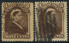 NEWFOUNDLAND USED #51(16) SHADES/ CANCELS, (2) SHOWN, OUTSTANDING, PRISTINE