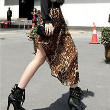 Women Ladies Fashion front short back Dip long Maxi Leopard Sheer Skirt Dress