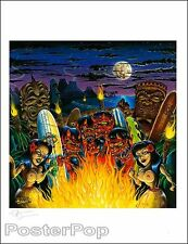Dirty Donny Ritual Beach Signed Giclee Print Devils Hula Girls Tiki Painting