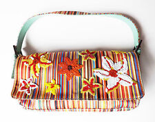 MAX & CO stripe baguette bag red orange yellow sequin flowers pale green strap