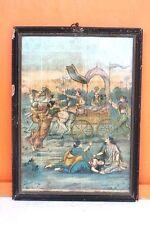 Vintage Ravi Varma Press Publication Print Arjun Mahabharat Scene with Frame F22