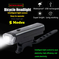 IPX4 Waterproof Smart Induction 5 Modes Bicycle Light USB Rechargeable Bike Lamp
